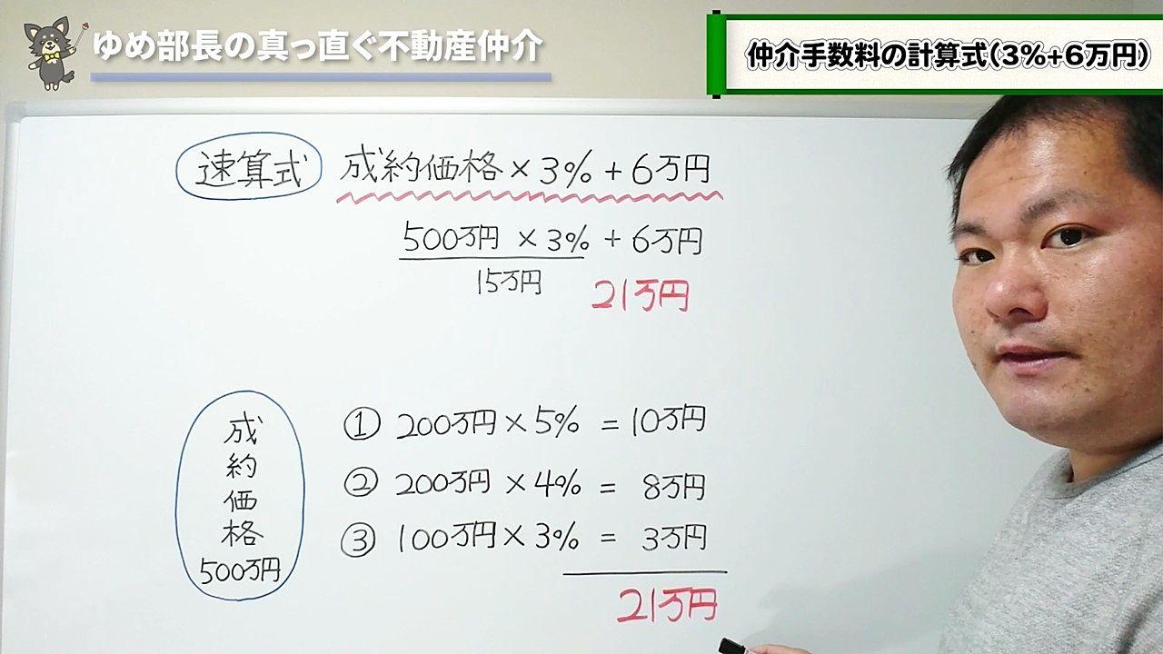 仲介手数料の計算式(3%+6万円)