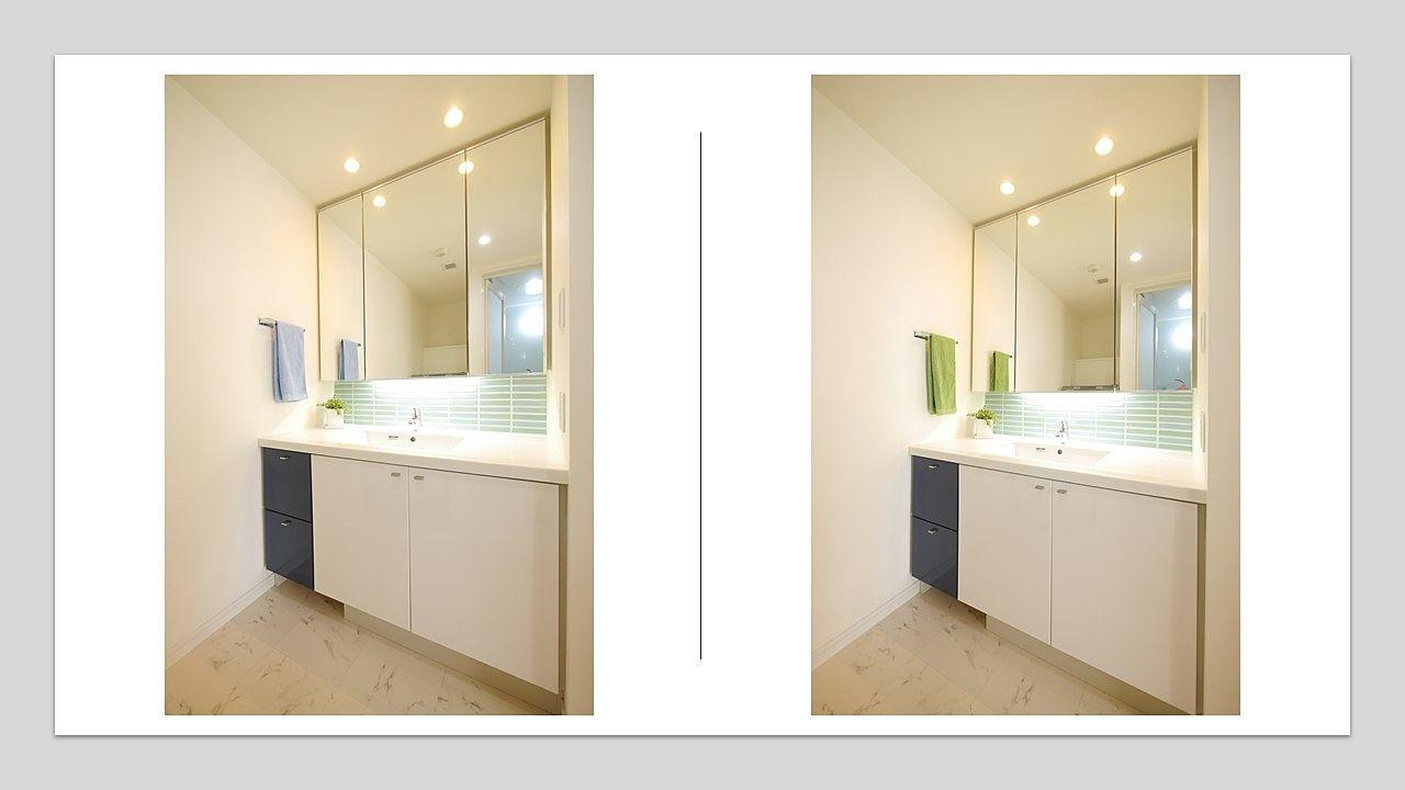 洗面化粧台2 タオルの色チェンジ(青・緑)