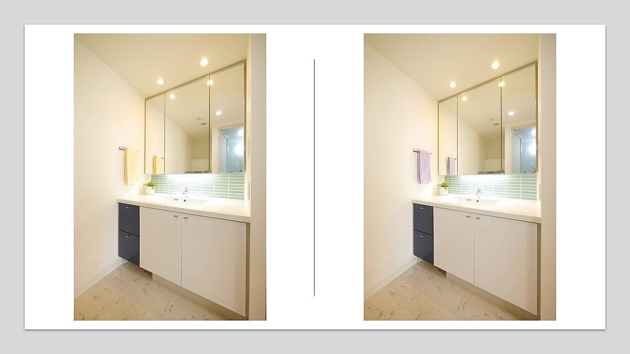 洗面化粧台2 タオルの色チェンジ(黄・紫)