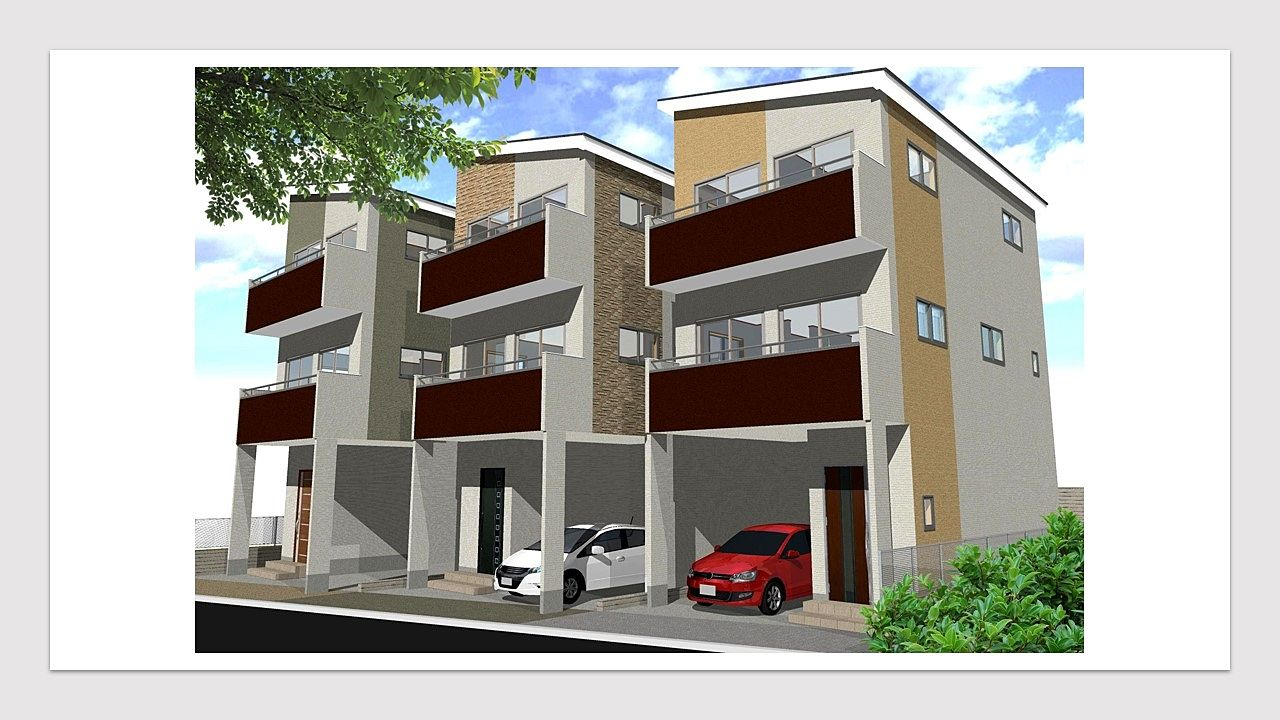新築戸建3棟現場の外観パース