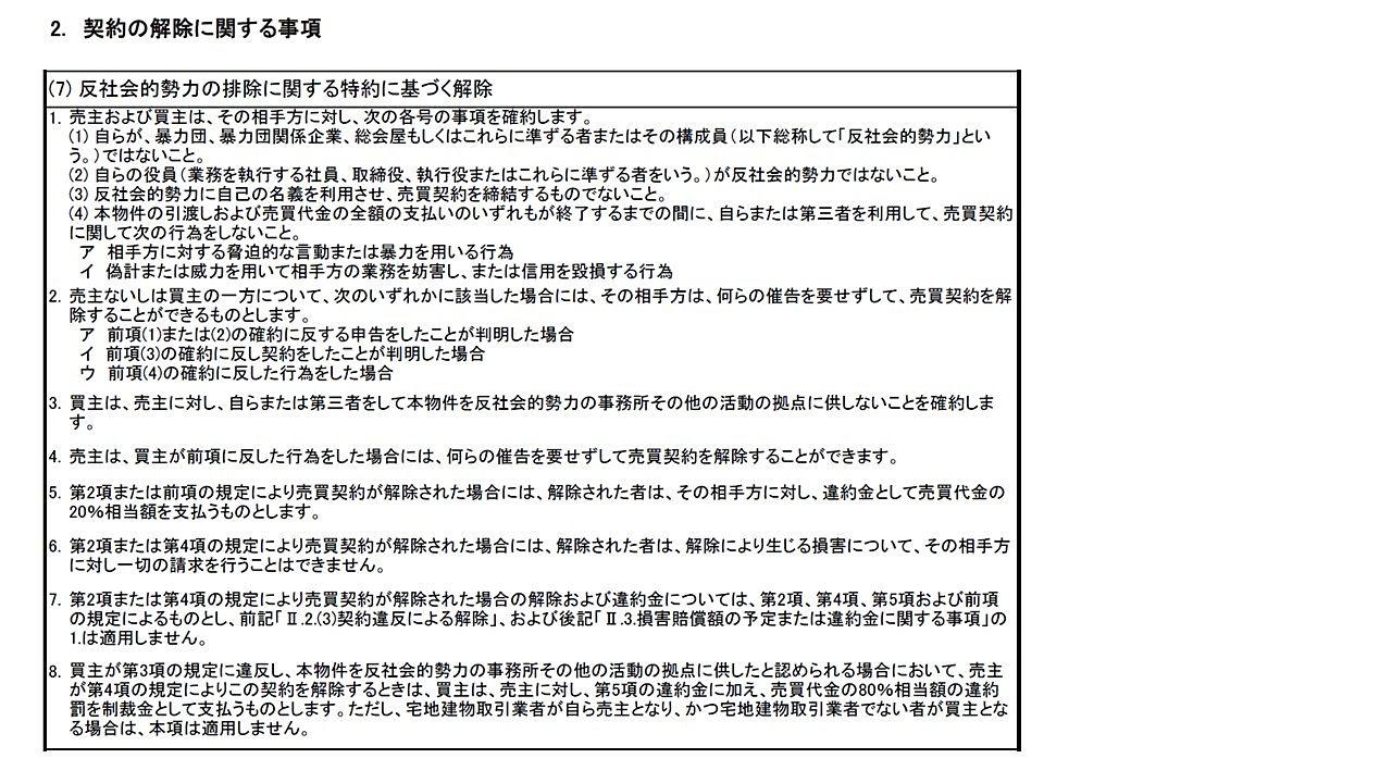重要事項説明書に記載する、反社会的勢力の排除に関する特約に基づく解除の文言です。
